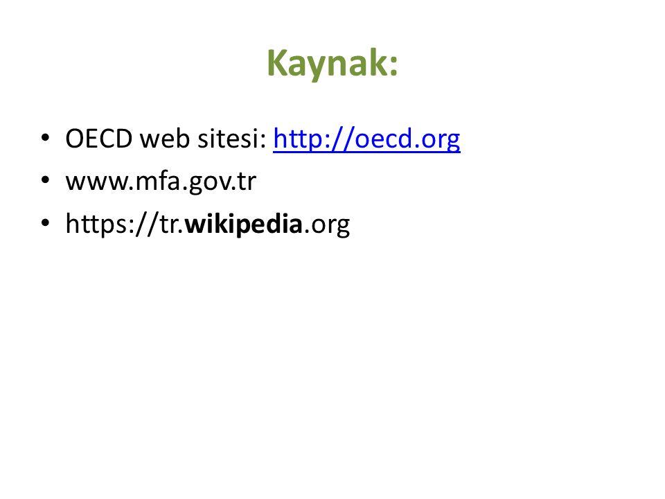 Kaynak: OECD web sitesi: http://oecd.orghttp://oecd.org www.mfa.gov.tr https://tr.wikipedia.org