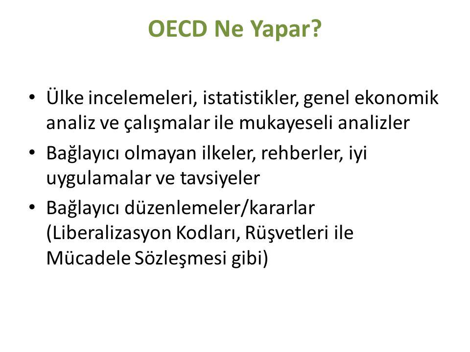 OECD Ne Yapar? Ülke incelemeleri, istatistikler, genel ekonomik analiz ve çalışmalar ile mukayeseli analizler Bağlayıcı olmayan ilkeler, rehberler, iy