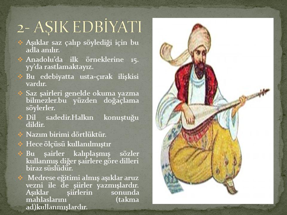  Aşıklar saz çalıp söylediği için bu adla anılır.  Anadolu'da ilk örneklerine 15. yy'da rastlamaktayız.  Bu edebiyatta usta-çırak ilişkisi vardır.