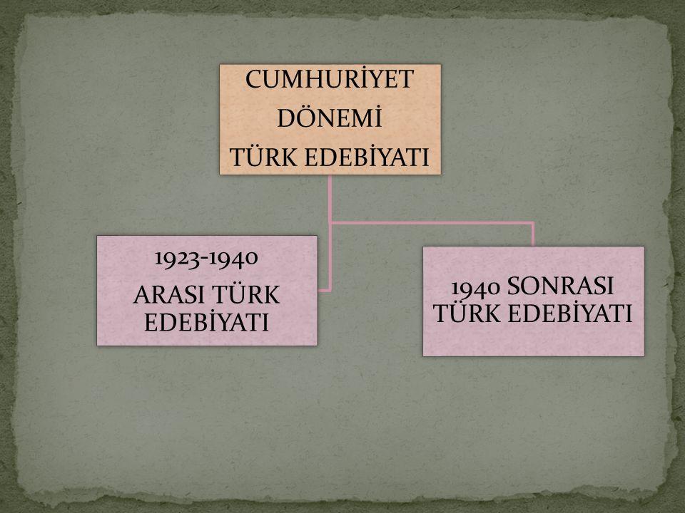CUMHURİYET DÖNEMİ TÜRK EDEBİYATI 1940 SONRASI TÜRK EDEBİYATI 1923-1940 ARASI TÜRK EDEBİYATI