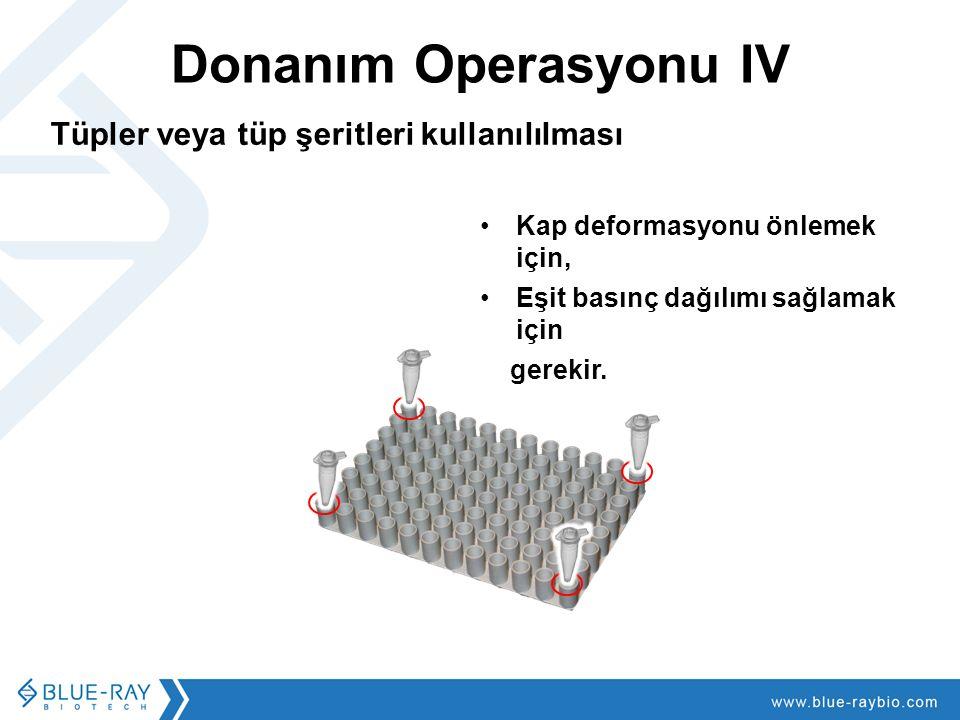 Donanım Operasyonu IV Tüpler veya tüp şeritleri kullanılılması Kap deformasyonu önlemek için, Eşit basınç dağılımı sağlamak için gerekir.
