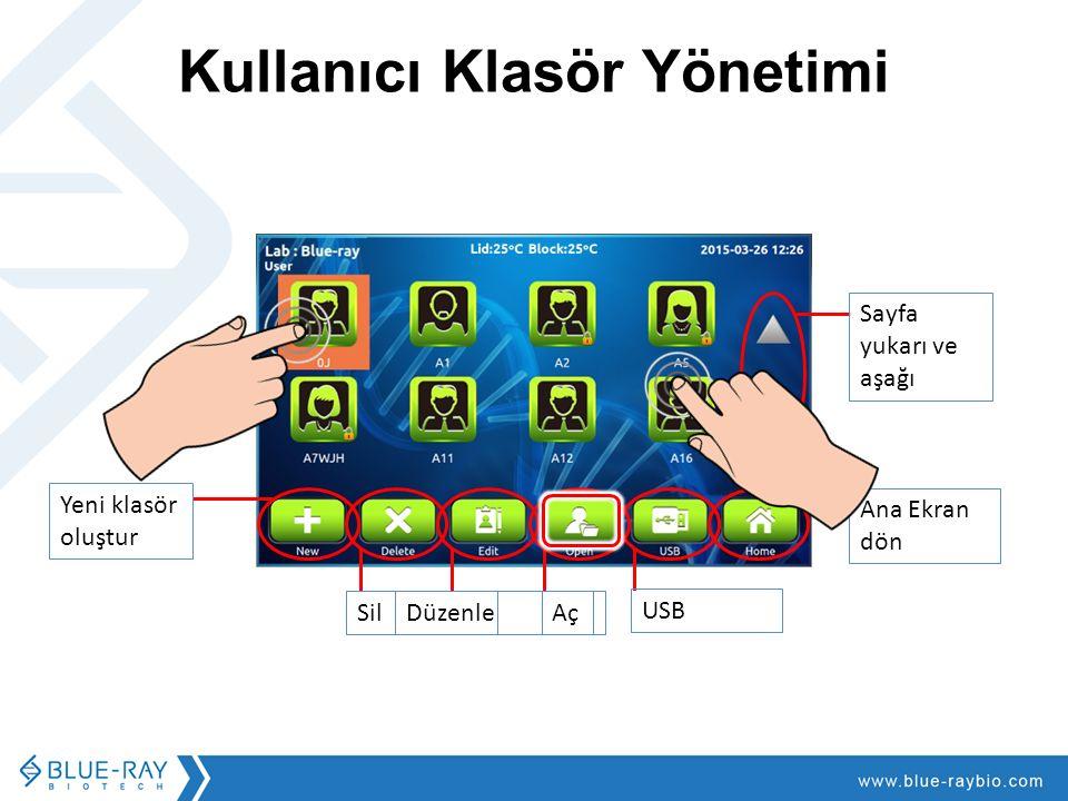 SilDüzenle Aç USB Kullanıcı Klasör Yönetimi Sayfa yukarı ve aşağı Ana Ekran dön Yeni klasör oluştur