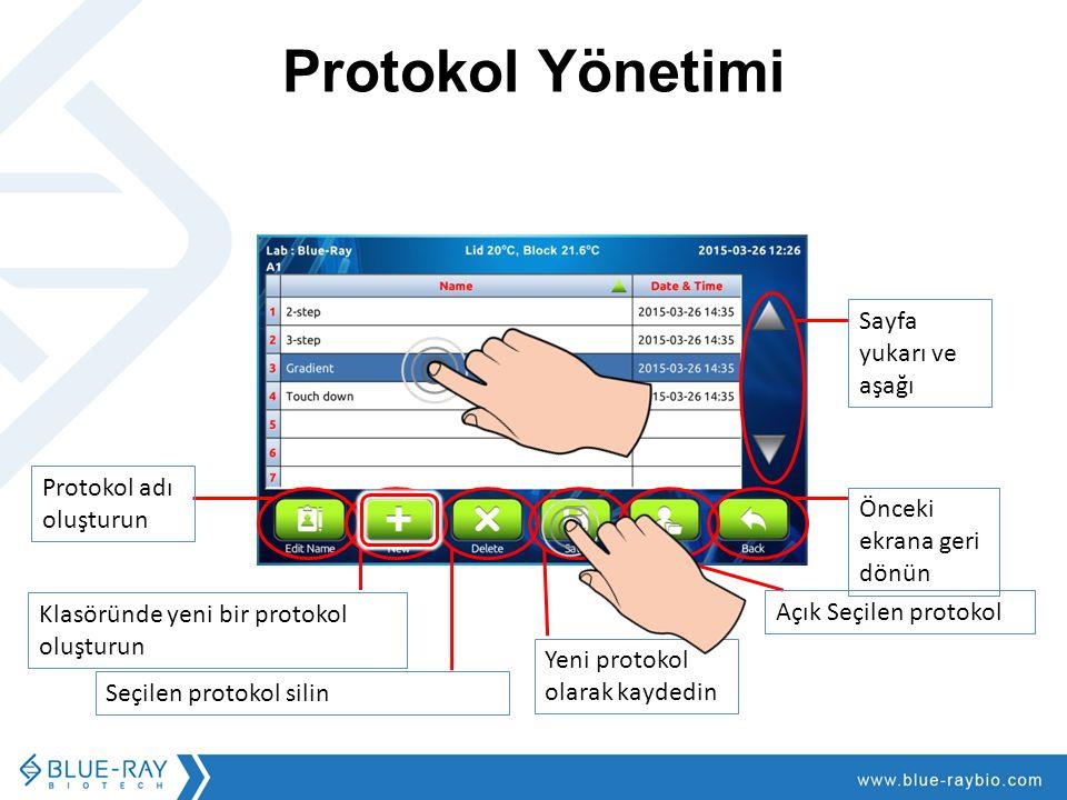 Protokol Yönetimi Sayfa yukarı ve aşağı Klasöründe yeni bir protokol oluşturun Seçilen protokol silin Yeni protokol olarak kaydedin Açık Seçilen protokol Önceki ekrana geri dönün Protokol adı oluşturun