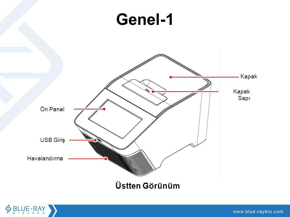 Genel-1 Üstten Görünüm Kapak Kapak Sapı Ön Panel USB Giriş Havalandırma