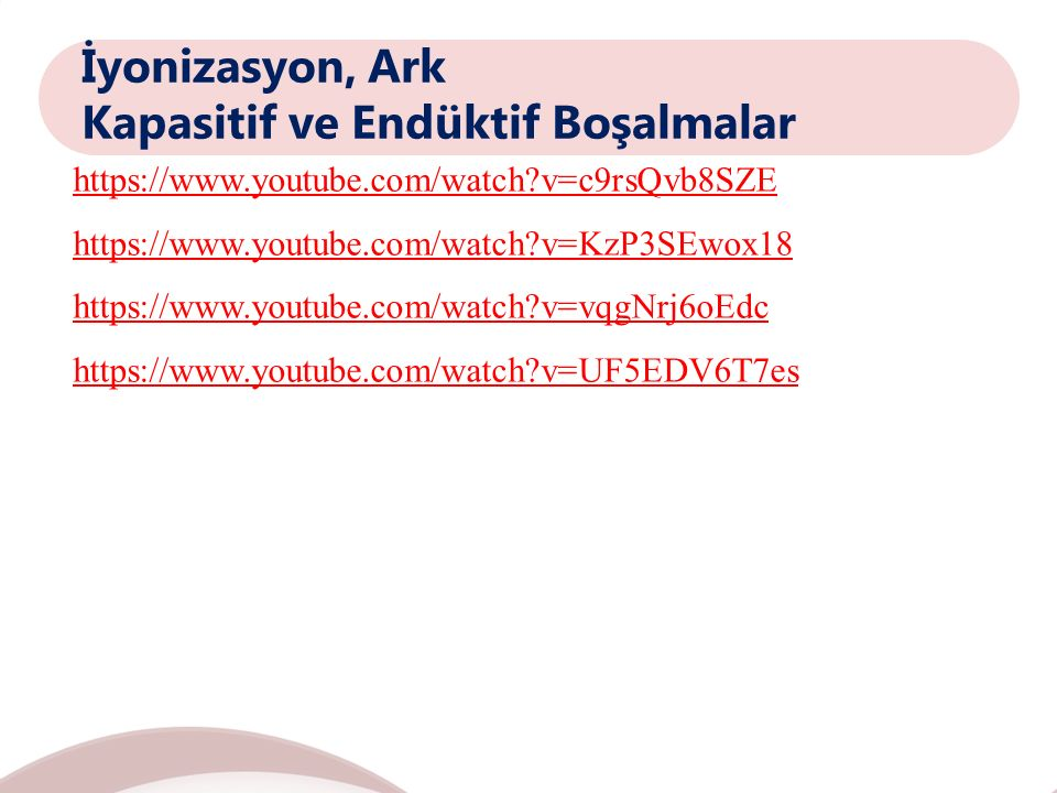 İyonizasyon, Ark Kapasitif ve Endüktif Boşalmalar https://www.youtube.com/watch?v=c9rsQvb8SZE https://www.youtube.com/watch?v=KzP3SEwox18 https://www.