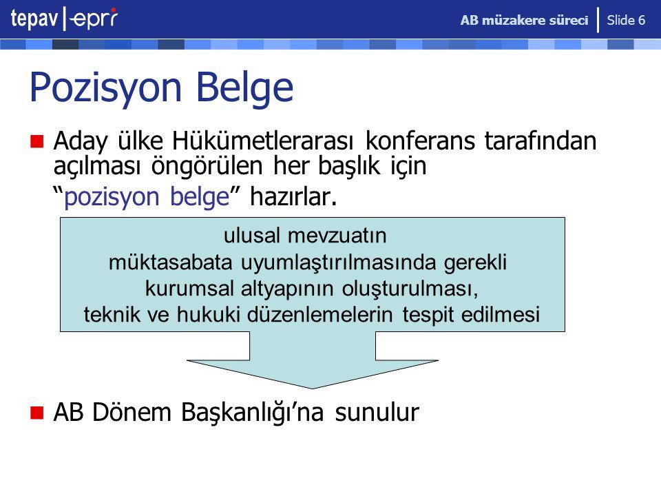 """AB müzakere süreci Slide 6 Pozisyon Belge Aday ülke Hükümetlerarası konferans tarafından açılması öngörülen her başlık için """"pozisyon belge"""" hazırlar."""