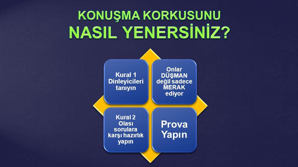 Kural 1 Dinleyicileri tanıyın Onlar DÜŞMAN değil sadece MERAK ediyor Kural 2 Olası sorulara karşı hazırlık yapın Prova Yapın