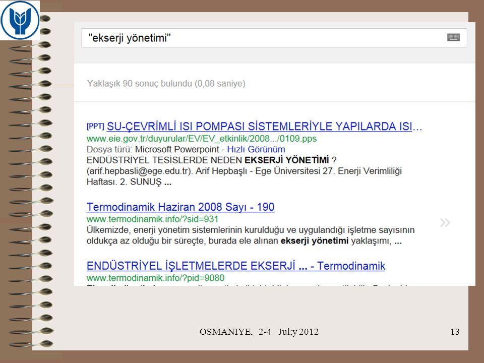 OSMANIYE, 2-4 Jul;y 201213