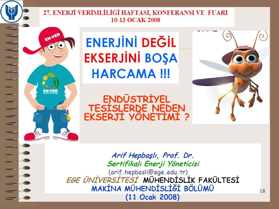 Arif Hepbaşlı, Prof. Dr. Sertifikalı Enerji Yöneticisi EGE ÜNİVERSİTESİ MÜHENDİSLİK FAKÜLTESİ MAKİNA MÜHENDİSLİĞİ BÖLÜMÜ (11 Ocak 2008) ENDÜSTRİYEL TE