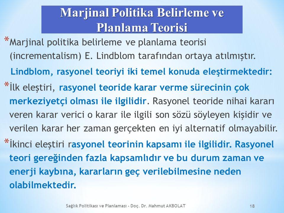 Marjinal Politika Belirleme ve Planlama Teorisi * Marjinal politika belirleme ve planlama teorisi (incrementalism) E.