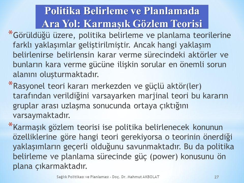 Politika Belirleme ve Planlamada Ara Yol: Karmaşık Gözlem Teorisi * Görüldüğü üzere, politika belirleme ve planlama teorilerine farklı yaklaşımlar geliştirilmiştir.