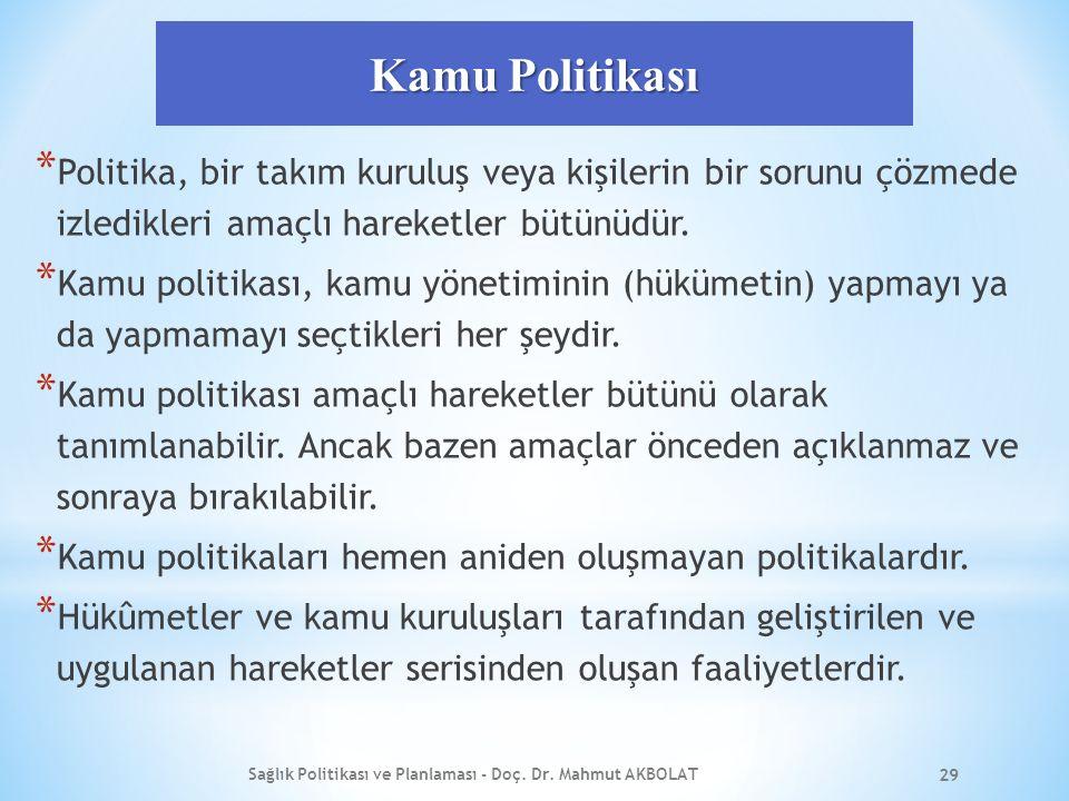 Kamu Politikası * Politika, bir takım kuruluş veya kişilerin bir sorunu çözmede izledikleri amaçlı hareketler bütünüdür.