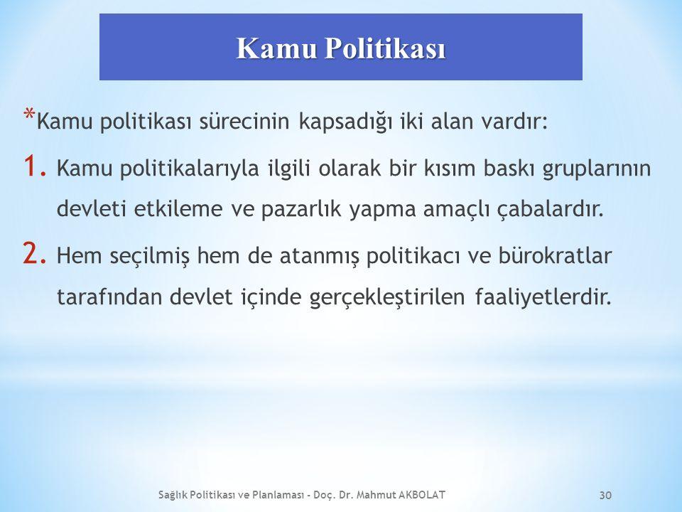 Kamu Politikası * Kamu politikası sürecinin kapsadığı iki alan vardır: 1.