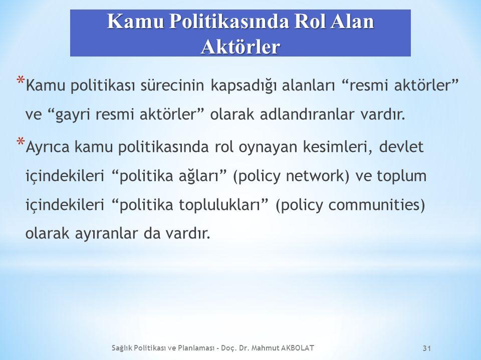Kamu Politikasında Rol Alan Aktörler * Kamu politikası sürecinin kapsadığı alanları resmi aktörler ve gayri resmi aktörler olarak adlandıranlar vardır.