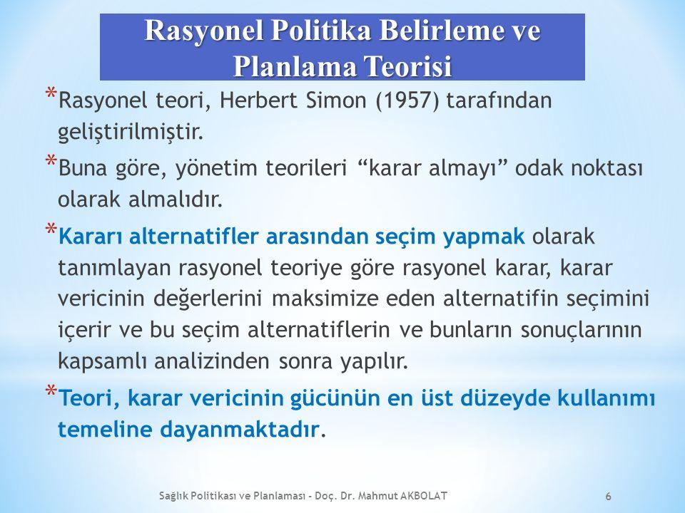 Rasyonel Politika Belirleme ve Planlama Teorisi * Rasyonel teori, Herbert Simon (1957) tarafından geliştirilmiştir.