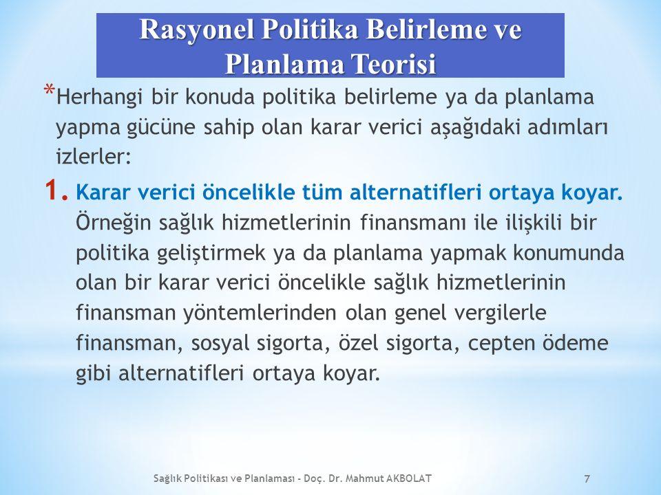 KAMU POLİTİKASINI BELİRLEYEN FAKTÖRLER Sağlık Politikası ve Planlaması - Doç. Dr. Mahmut AKBOLAT 28