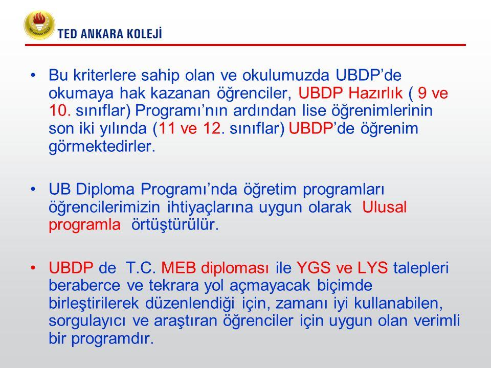 Bu kriterlere sahip olan ve okulumuzda UBDP'de okumaya hak kazanan öğrenciler, UBDP Hazırlık ( 9 ve 10. sınıflar) Programı'nın ardından lise öğrenimle
