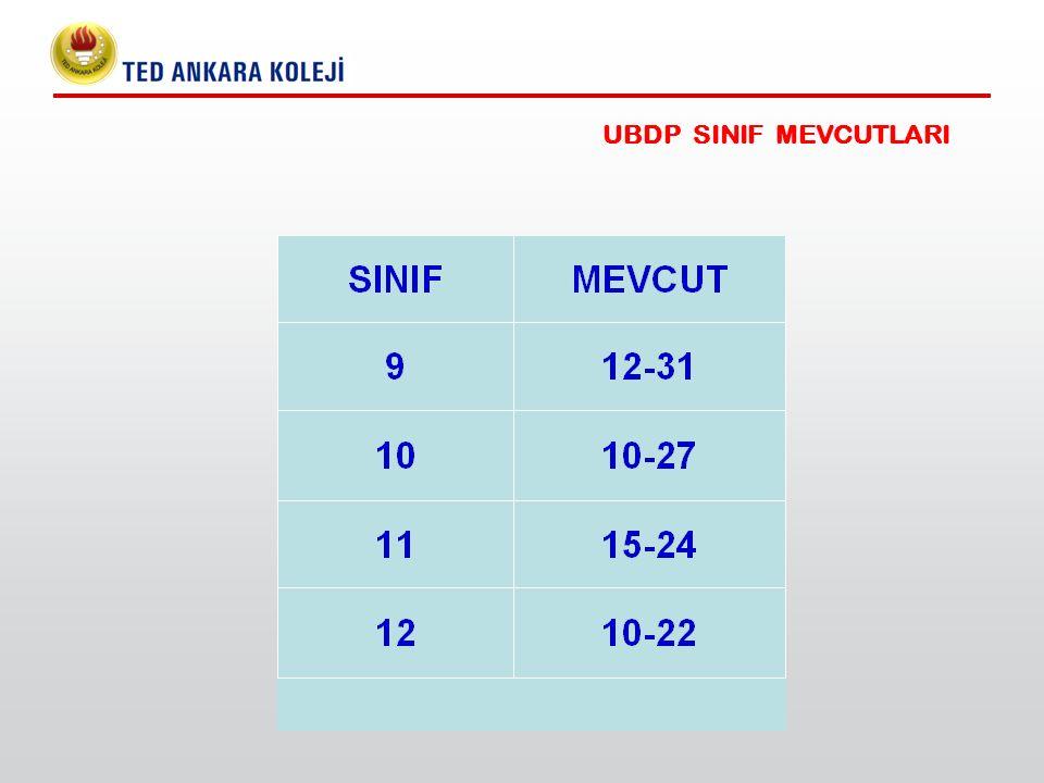 UBDP SINIF MEVCUTLARI