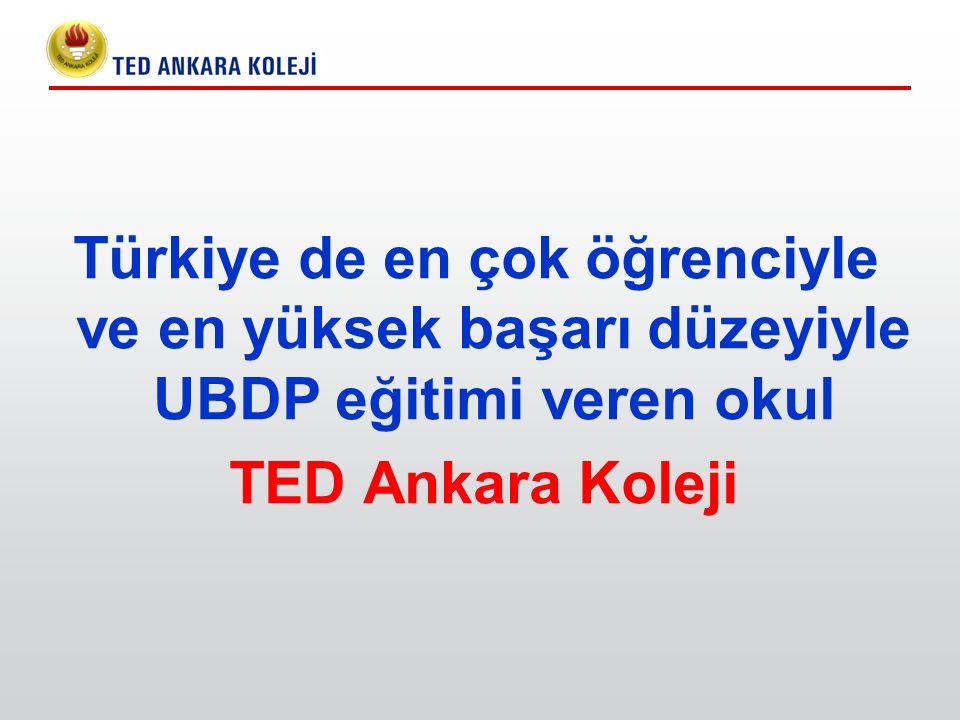 Türkiye de en çok öğrenciyle ve en yüksek başarı düzeyiyle UBDP eğitimi veren okul TED Ankara Koleji