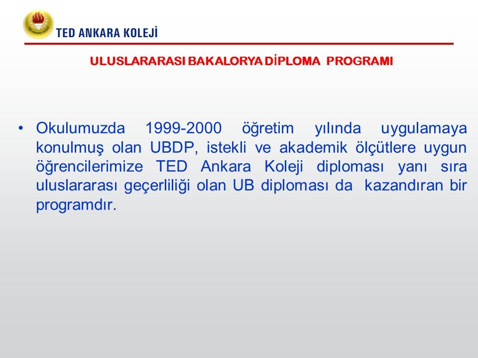 Okulumuzda 1999-2000 öğretim yılında uygulamaya konulmuş olan UBDP, istekli ve akademik ölçütlere uygun öğrencilerimize TED Ankara Koleji diploması ya