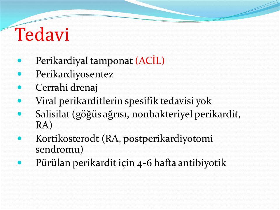 Tedavi Perikardiyal tamponat (ACİL) Perikardiyosentez Cerrahi drenaj Viral perikarditlerin spesifik tedavisi yok Salisilat (göğüs ağrısı, nonbakteriye