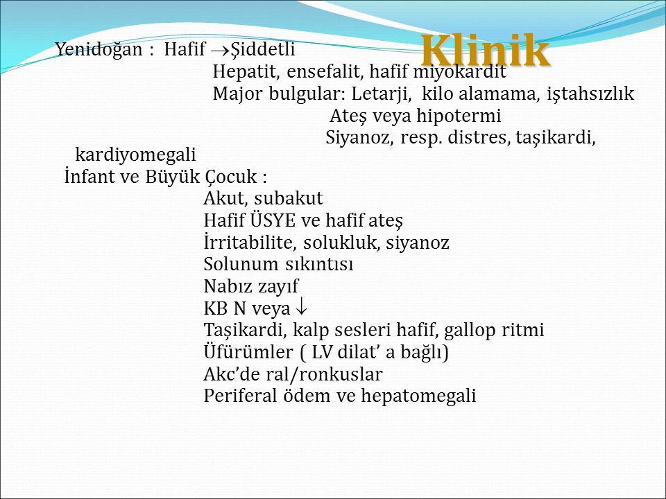Klinik Klinik Yenidoğan : Hafif  Şiddetli Hepatit, ensefalit, hafif miyokardit Major bulgular: Letarji, kilo alamama, iştahsızlık Ateş veya hipotermi