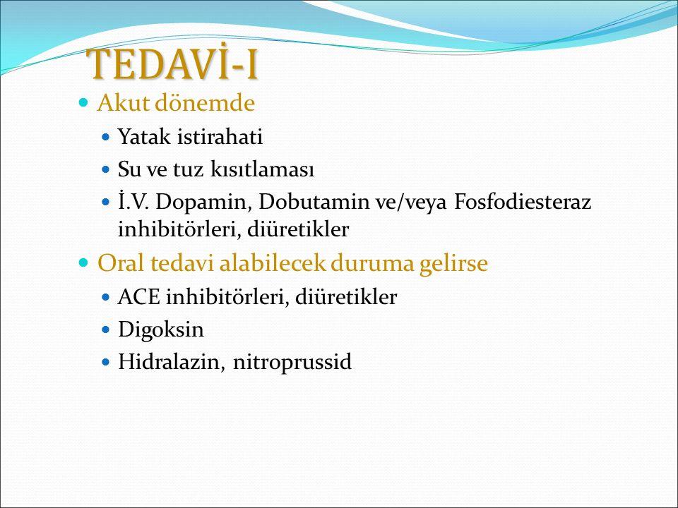 TEDAVİ-I Akut dönemde Yatak istirahati Su ve tuz kısıtlaması İ.V. Dopamin, Dobutamin ve/veya Fosfodiesteraz inhibitörleri, diüretikler Oral tedavi ala