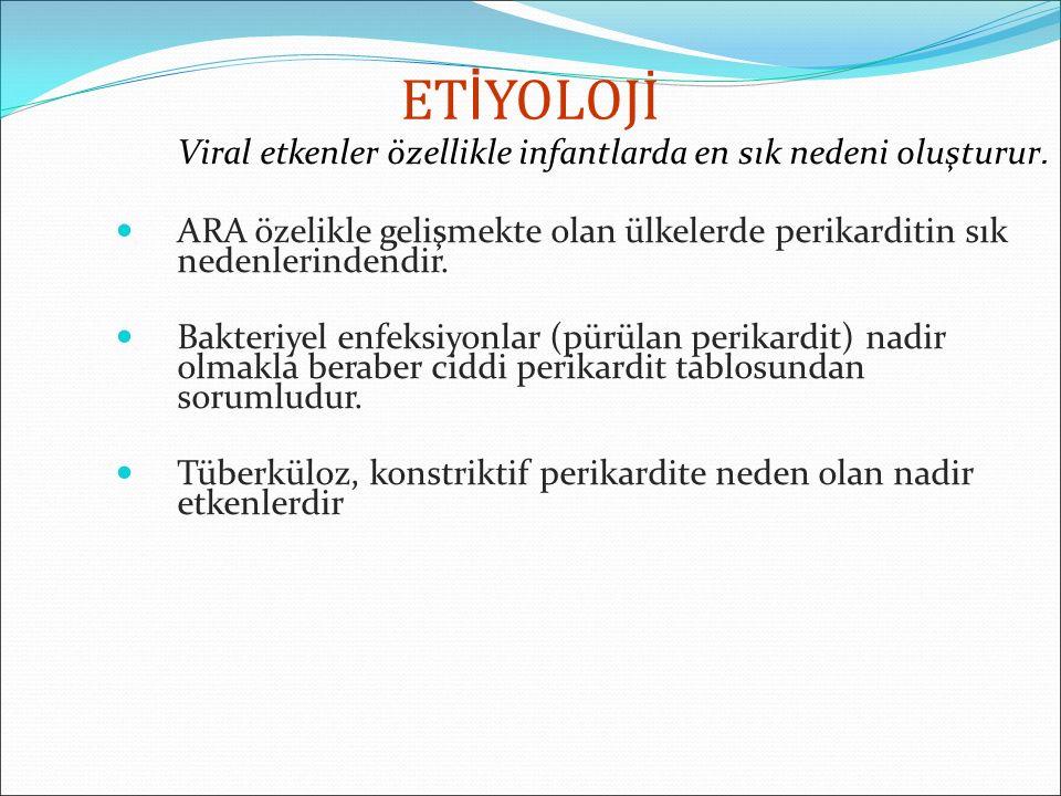 VİRAL Coxsackie virus A Arboviruslar Coxsackie virus B Hepatit virusları Echovirus İnfluenza Adenoviruslar HIV Rubella Varicella Kızamık Kabakulak EBV CMV Rhinoviruslar