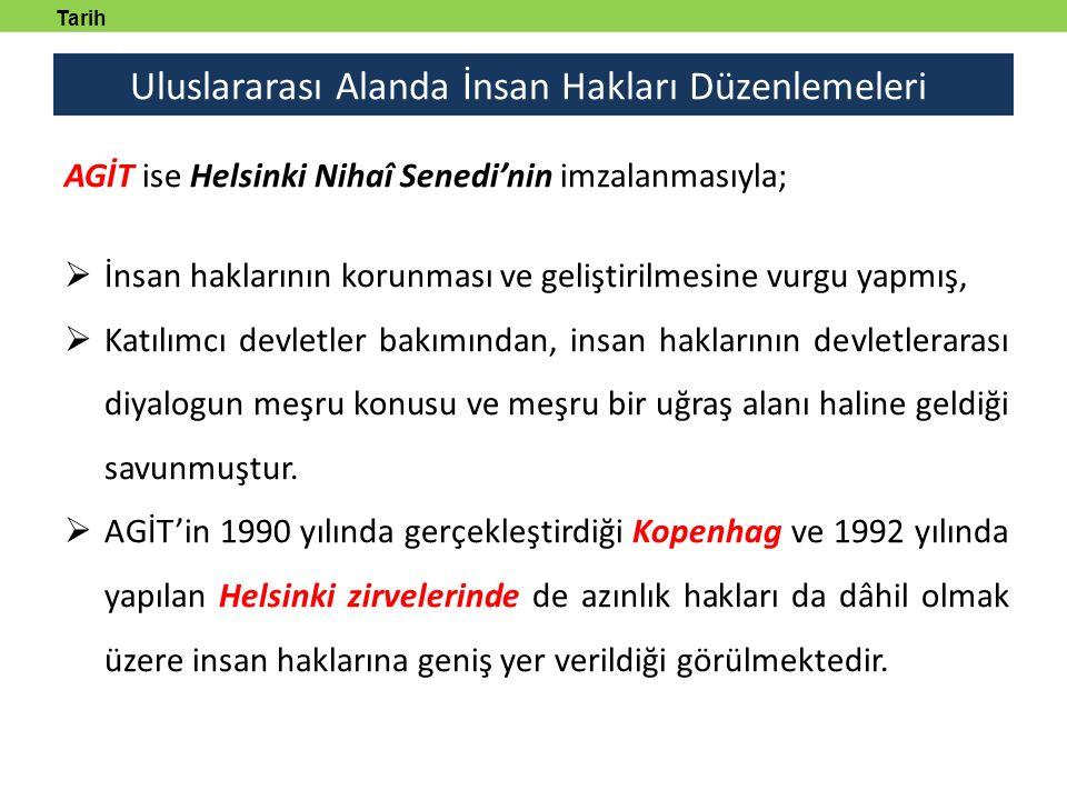 Uluslararası Alanda İnsan Hakları Düzenlemeleri Tarih tanmlayabilecek AGİT ise Helsinki Nihaî Senedi'nin imzalanmasıyla;  İnsan haklarının korunması ve geliştirilmesine vurgu yapmış,  Katılımcı devletler bakımından, insan haklarının devletlerarası diyalogun meşru konusu ve meşru bir uğraş alanı haline geldiği savunmuştur.
