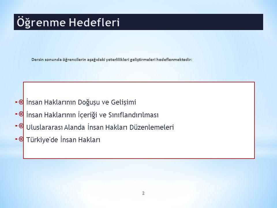 * İnsan Haklarının Doğuşu ve Gelişimi * İnsan Haklarının İçeriği ve Sınıflandırılması * Uluslararası Alanda İnsan Hakları Düzenlemeleri * Türkiye de İnsan Hakları Dersin Haftalık İçeriği