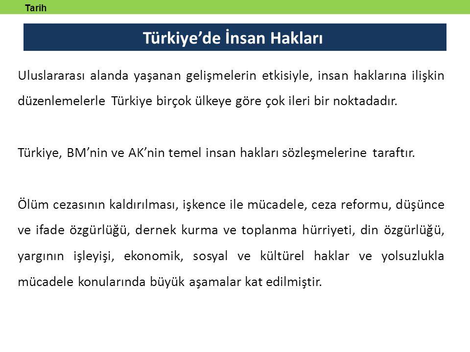 Türkiye'de İnsan Hakları Tarih tanmlayabilecek Uluslararası alanda yaşanan gelişmelerin etkisiyle, insan haklarına ilişkin düzenlemelerle Türkiye birçok ülkeye göre çok ileri bir noktadadır.