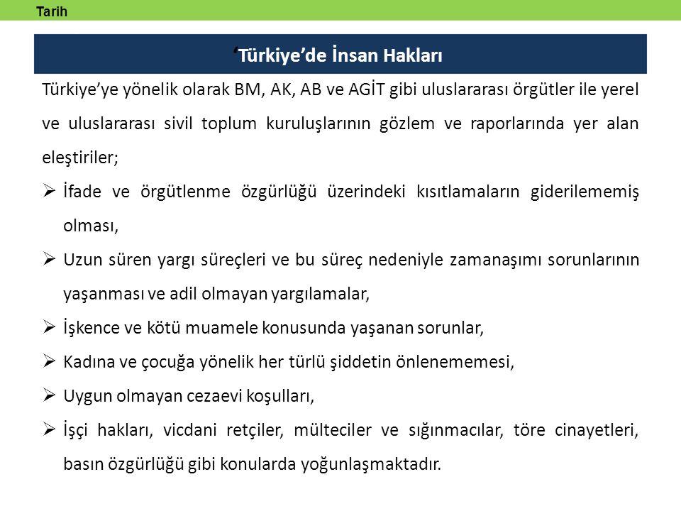 ' Türkiye'de İnsan Hakları Tarih tanmlayabilecek Türkiye'ye yönelik olarak BM, AK, AB ve AGİT gibi uluslararası örgütler ile yerel ve uluslararası sivil toplum kuruluşlarının gözlem ve raporlarında yer alan eleştiriler;  İfade ve örgütlenme özgürlüğü üzerindeki kısıtlamaların giderilememiş olması,  Uzun süren yargı süreçleri ve bu süreç nedeniyle zamanaşımı sorunlarının yaşanması ve adil olmayan yargılamalar,  İşkence ve kötü muamele konusunda yaşanan sorunlar,  Kadına ve çocuğa yönelik her türlü şiddetin önlenememesi,  Uygun olmayan cezaevi koşulları,  İşçi hakları, vicdani retçiler, mülteciler ve sığınmacılar, töre cinayetleri, basın özgürlüğü gibi konularda yoğunlaşmaktadır.