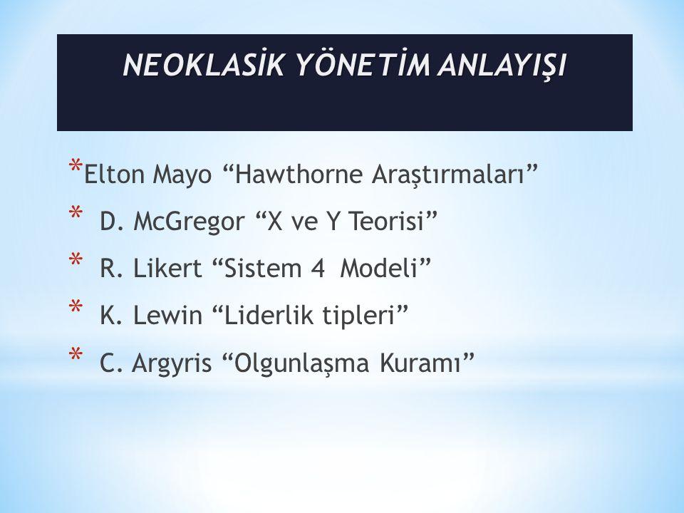 * Elton Mayo Hawthorne Araştırmaları * D.McGregor X ve Y Teorisi * R.