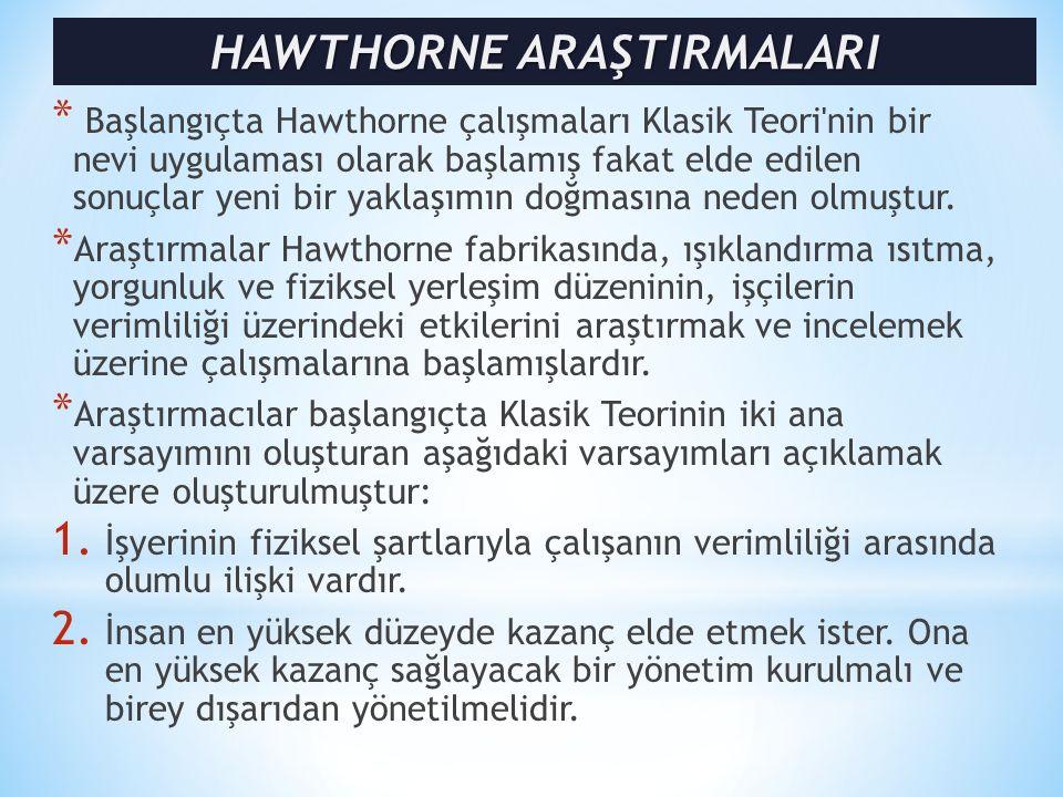 * Başlangıçta Hawthorne çalışmaları Klasik Teori nin bir nevi uygulaması olarak başlamış fakat elde edilen sonuçlar yeni bir yaklaşımın doğmasına neden olmuştur.