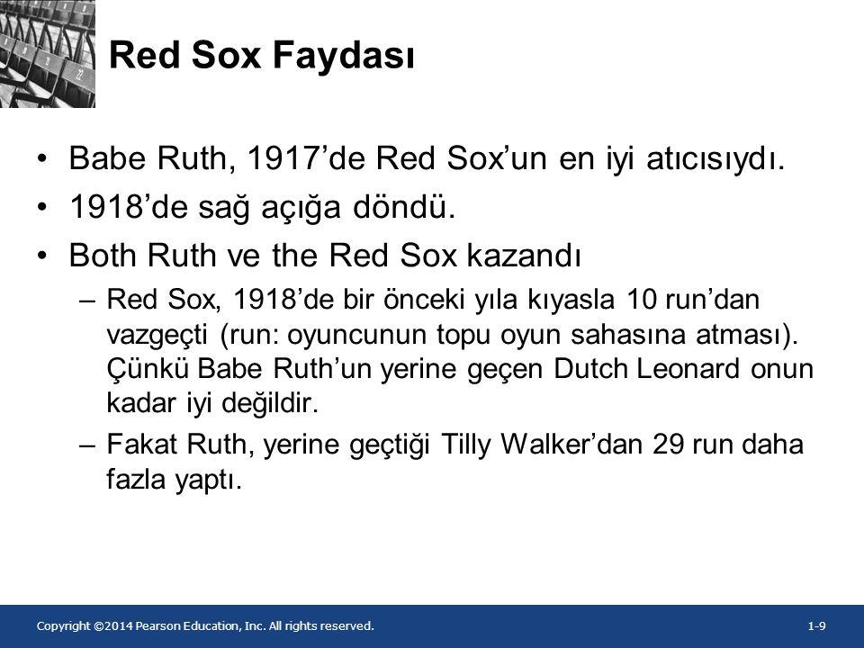 Copyright ©2014 Pearson Education, Inc. All rights reserved.1-9 Red Sox Faydası Babe Ruth, 1917'de Red Sox'un en iyi atıcısıydı. 1918'de sağ açığa dön