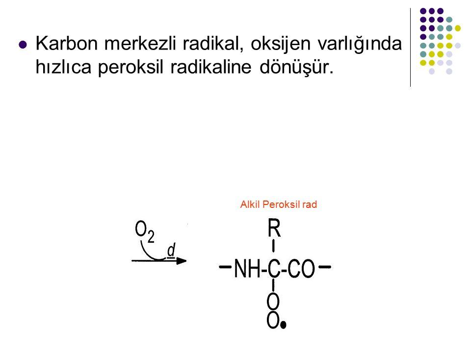 Karbon merkezli radikal, oksijen varlığında hızlıca peroksil radikaline dönüşür. Alkil Peroksil rad