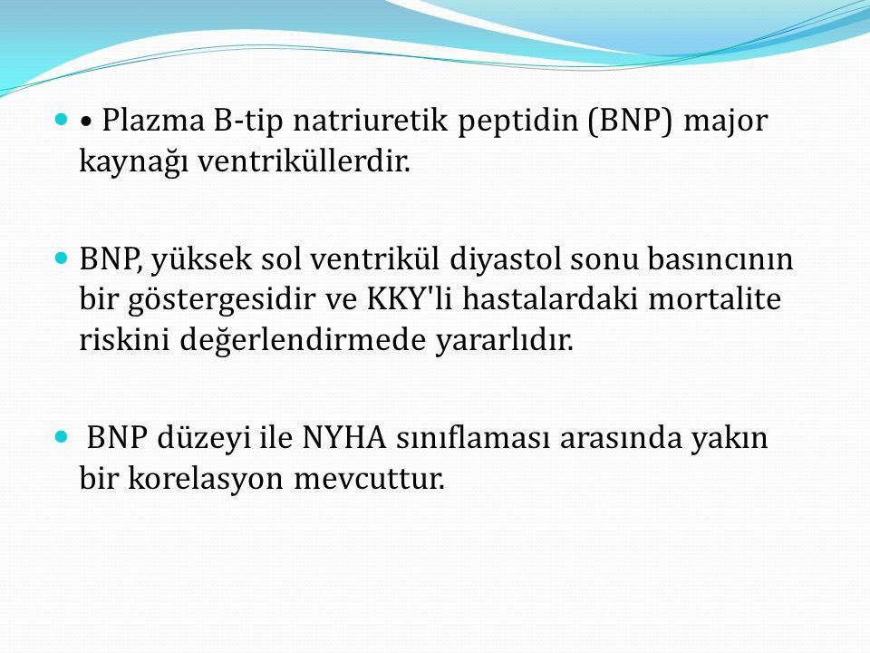 Plazma B-tip natriuretik peptidin (BNP) major kaynağı ventriküllerdir.