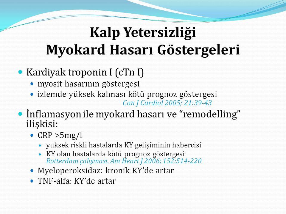 Kalp Yetersizliği Myokard Hasarı Göstergeleri Kardiyak troponin I (cTn I) myosit hasarının göstergesi izlemde yüksek kalması kötü prognoz göstergesi Can J Cardiol 2005; 21:39-43 İnflamasyon ile myokard hasarı ve remodelling ilişkisi: CRP >5mg/l yüksek riskli hastalarda KY gelişiminin habercisi KY olan hastalarda kötü prognoz göstergesi Rotterdam çalışması.