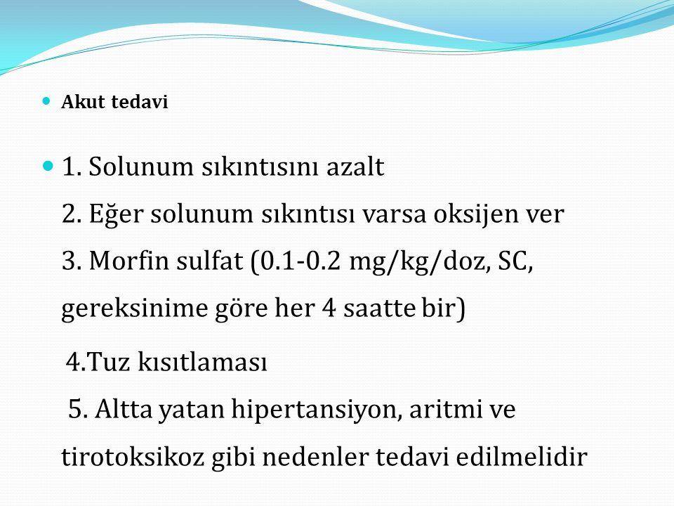 Akut tedavi 1.Solunum sıkıntısını azalt 2. Eğer solunum sıkıntısı varsa oksijen ver 3.