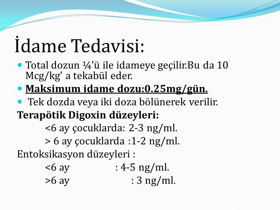 İdame Tedavisi: Total dozun ¼'ü ile idameye geçilir.Bu da 10 Mcg/kg' a tekabül eder.