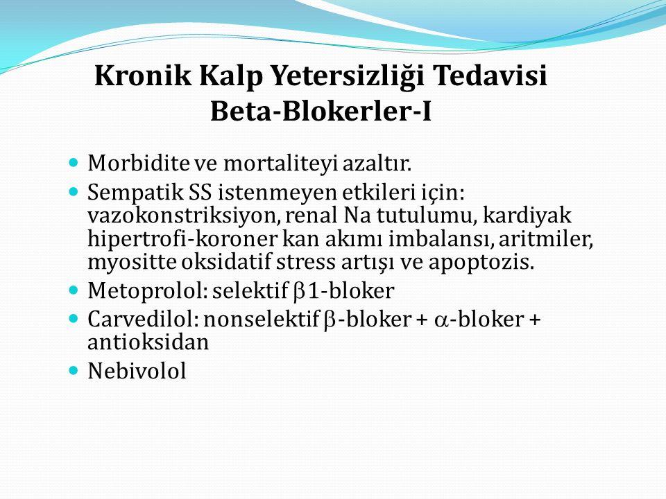 Kronik Kalp Yetersizliği Tedavisi Beta-Blokerler-I Morbidite ve mortaliteyi azaltır.
