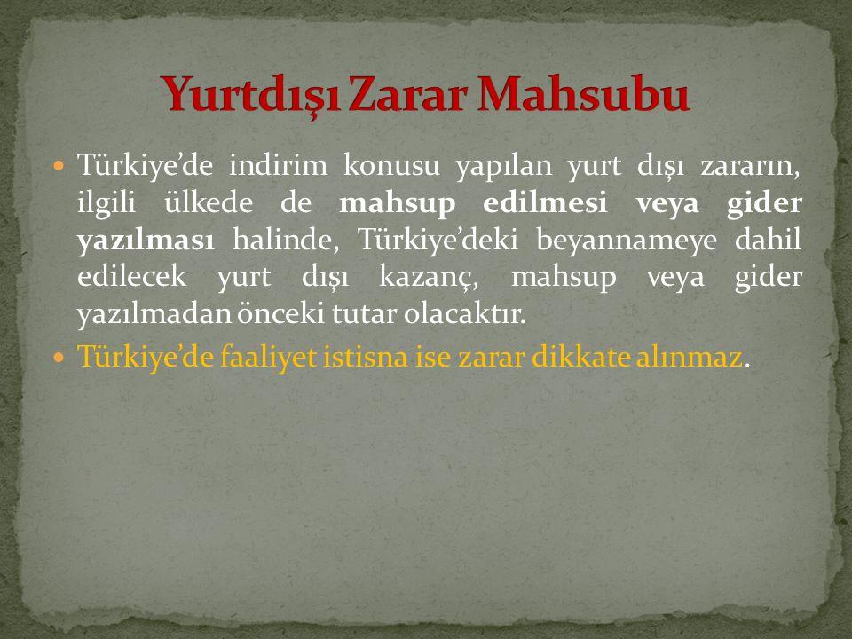 Türkiye'de indirim konusu yapılan yurt dışı zararın, ilgili ülkede de mahsup edilmesi veya gider yazılması halinde, Türkiye'deki beyannameye dahil edi