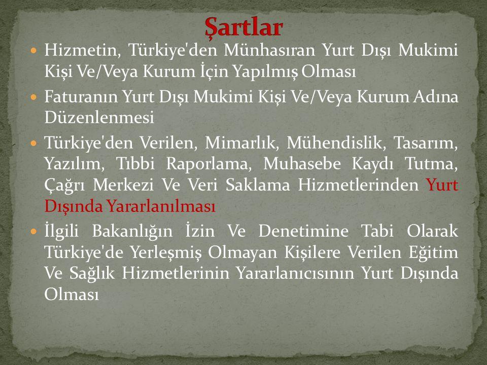Hizmetin, Türkiye'den Münhasıran Yurt Dışı Mukimi Kişi Ve/Veya Kurum İçin Yapılmış Olması Faturanın Yurt Dışı Mukimi Kişi Ve/Veya Kurum Adına Düzenlen