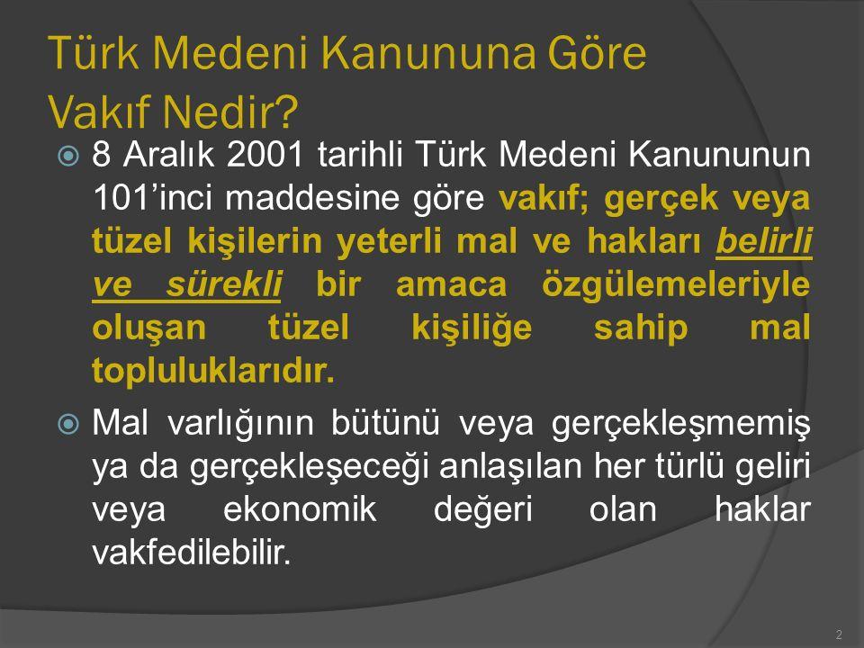  Türk Medeni Kanununun 102'nci maddesine göre vakıf kurma iradesi, resmi senetle veya ölüme bağlı tasarrufla açıklanır ve vakıf yerleşim yeri mahkemesi nezdinde tutulan sicile tescil ile tüzel kişilik kazanır.