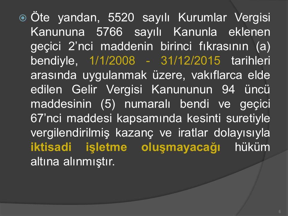  1319 sayılı Emlak Vergisi Kanununun 4 üncü maddesinin (m) fıkrasına göre, kiraya verilmemek ve resmi senedinde yazılı amaçlara tahsis edilmek şartıyla vakfa ait binalar için emlak vergisi muafiyetinden yararlanmaktadır.