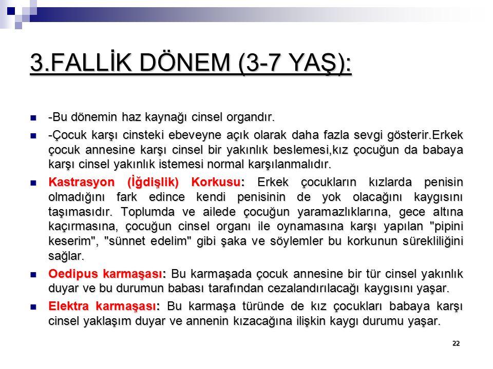 3.FALLİK DÖNEM (3-7 YAŞ): -Bu dönemin haz kaynağı cinsel organdır.