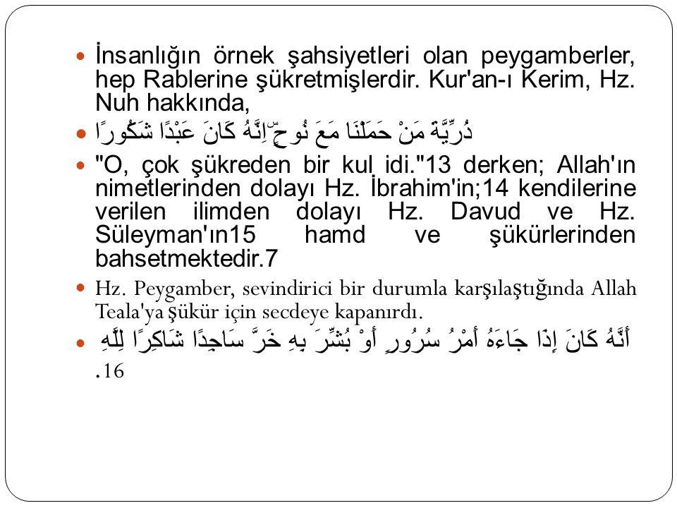 İnsanlığın örnek şahsiyetleri olan peygamberler, hep Rablerine şükretmişlerdir. Kur'an-ı Kerim, Hz. Nuh hakkında, ذُرِّيَّةَ مَنْ حَمَلْنَا مَعَ نُوحٍ