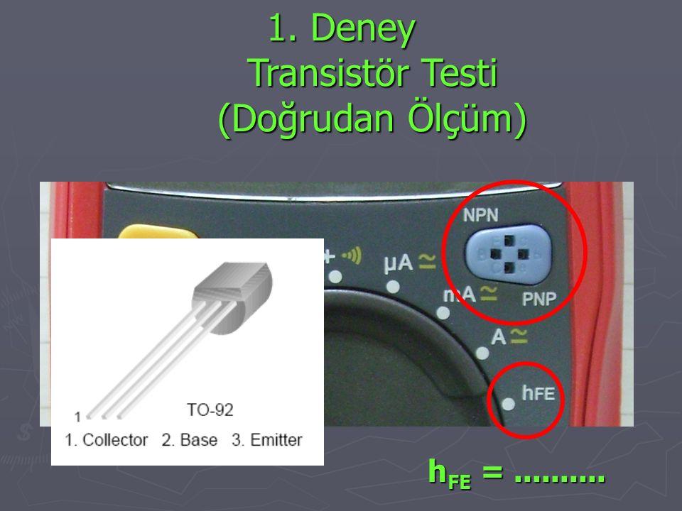 1. Deney Transistör Testi (Doğrudan Ölçüm) ???? h FE =..........