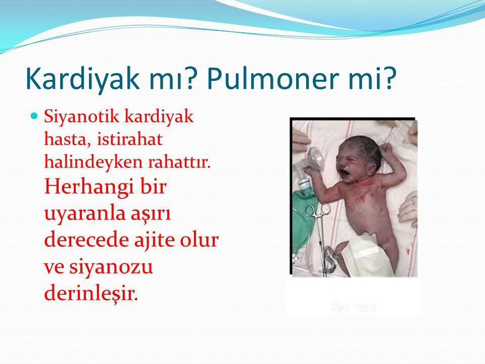 Kardiyak mı? Pulmoner mi? Siyanotik kardiyak hasta, istirahat halindeyken rahattır. Herhangi bir uyaranla aşırı derecede ajite olur ve siyanozu derinl