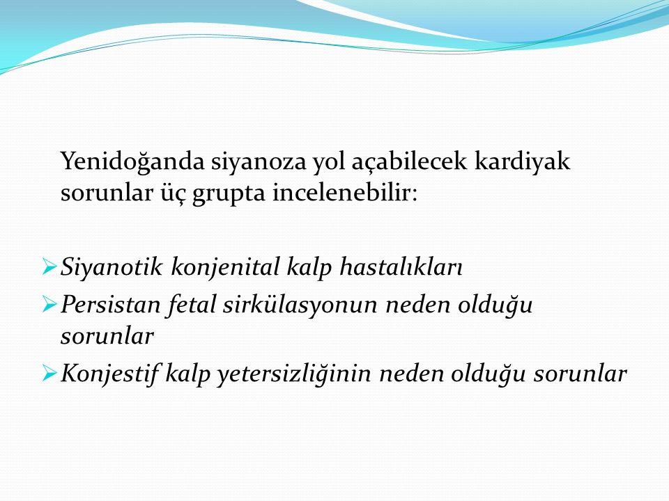 Yenidoğanda siyanoza yol açabilecek kardiyak sorunlar üç grupta incelenebilir:  Siyanotik konjenital kalp hastalıkları  Persistan fetal sirkülasyonu